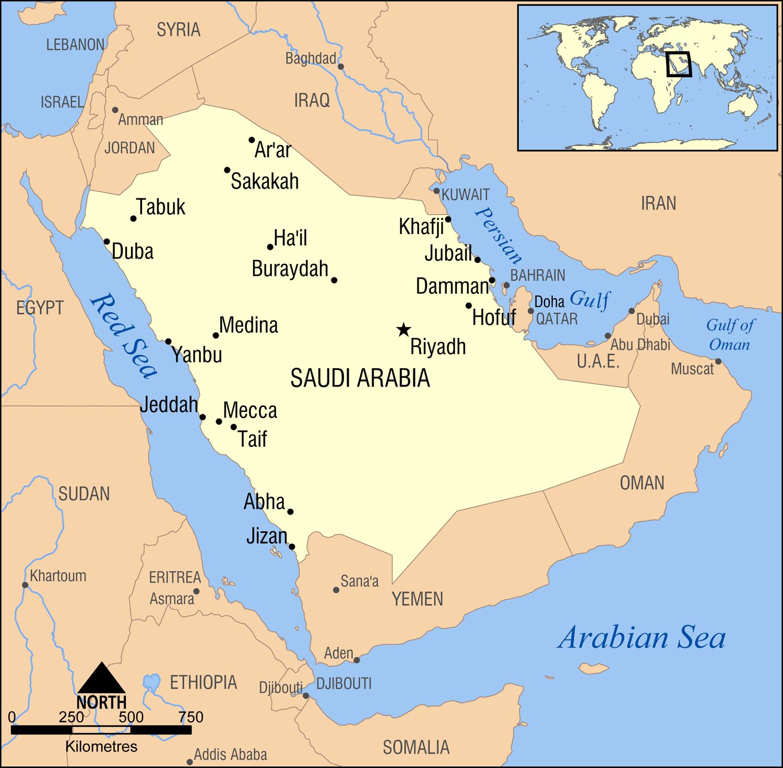 Saudi Arabia – Arabian Peninsula World Map