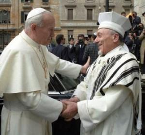 Rabbi Toaff with Pope John Paul II