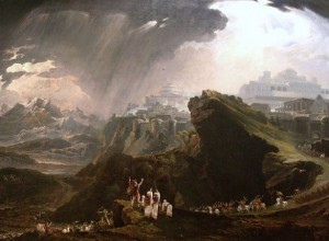 God miraculously causes the sun to stand still, allowing the Israelites under Yehoshua's command to win the battle (painting by John Martin)