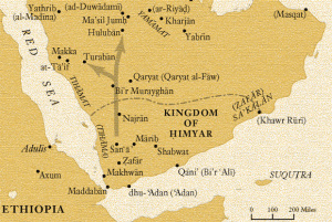 A map of the Arabian Peninsula showing the Jewish-Arab Kingdom of Himyar, together with other notable Jewish villages