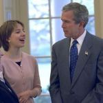 Sarah Hughes, with former president George W. Bush