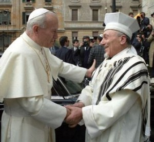 Rabbi Toaff with Pope John Paul II