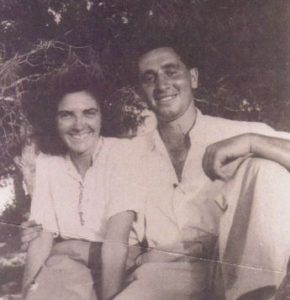 A young Shimon Peres with his wife Sonia